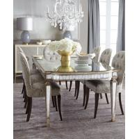 Luxury Mirrored Dining Table With Grey Wooden Chair  8 Person Seats Manufactures