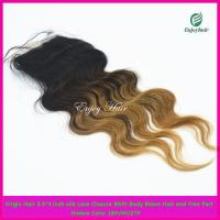 Buy cheap Silk lace closure 3.5''x4'' peruvian virgin hair ombre1b/4#/27# color,body wave from wholesalers