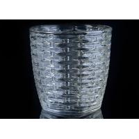 310Ml Capacity Crystal Candle Holder / Glass Tea Light Holders With Woven Pattern Manufactures