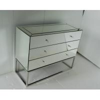 Stainless Steel Base Mirrored Cabinet Chest , Antique Mirror Table 3 Drawers Chest Manufactures