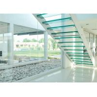 Indoor Flight Modern Straight Staircase Commercial Staircase Laminated Glass Treads Easy Assemblying Manufactures