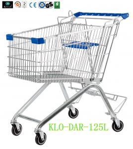 125L Toddler Metal Supermarket Cart With Beer Rack / 4 Swivel 4 Inch PU Wheel Manufactures