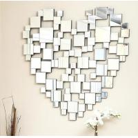 China Heart Shape Modern Decorative Wall Mirrors , Venetian Large Silver Wall Mirror on sale