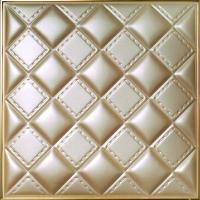Buy cheap Hallway Background 3D Leather Wall Panels Wood Tile Imitation 500x500x3 mm from wholesalers