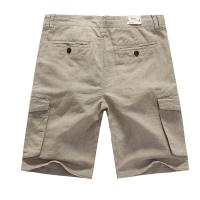 Quality Fashion Casual Men's Cotton Linen Shorts Mens Light Beige Pants With Pockets for sale