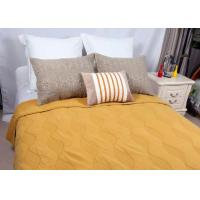 Cotton Plain Dyed Yellow Quilted Bedspread , Embroidered Hotel Collection Coverlet Manufactures
