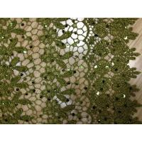 Dark Green Chemical Lace Fabric Cotton ,Eyelet Lace Fabric Manufactures