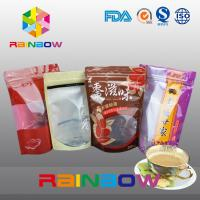 China Plastic Bottom Gusset Bags / Stand Up Bag With Ziplock And Window For Ground Coffee Bean on sale