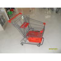 80L Supermarket Shopping Trolley With Grey Powder Coating And Shopping Basket Manufactures