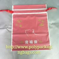 Moisture Proof Red Frosted Printed Drawstring Bags Fit Christmas Gift Manufactures