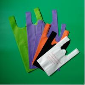 Non woven vest shopping bag in green color,  32+14x60cm,100% virgin, eco-friendly Manufactures