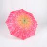 Custom Manual Open Umbrella , Pink Flower Print 3 Fold Umbrella For Women Manufactures