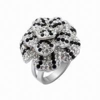Ring with Swarovski Jewelry, Sterling Silver Ring with Crystal, in New Design Manufactures