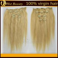China Straight Wave Golden Real Hair Clip In Hair Extensions for Short Hair -18 inch on sale