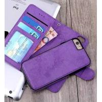 2 In 1 Iphone 7 Leather Wallet Case , Oil Leather Vintage Wallet Case