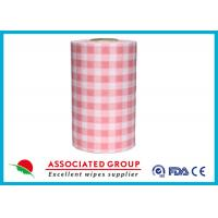 Plaid Pattern Spunlace Nonwoven Wipe Rolls In different Color , Breakpoint Available Manufactures