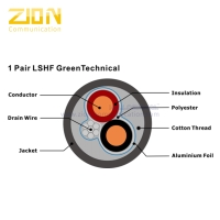 1 Pair 0.8mm Knx cable LSHF GreenTechnical Datasheet Knx cable LSZH Green Jacket Manufactures