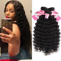Deep Wave Peruvian Human Hair Bundles 3 Pieces Virgin Remy Hair Weave Manufactures