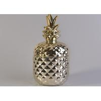 China Handmade Ceramic Candle Holders / Pineapple Ceramic Candle Jars Golden Plating on sale