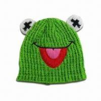 Animal Knitted Hat with 3-D Ears and Appqlique Mouth, Made of Acrylic Manufactures