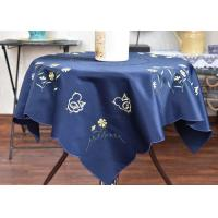 Chemical Fiber Embroidered Linen Tablecloth , Country Style Square Cotton Tablecloth Manufactures