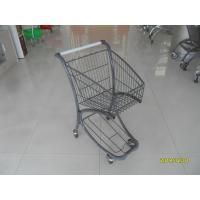 40L Steel Tube Airport Grocery Push Cart , Grocery Shopping Trolley With Advertisement Board Manufactures