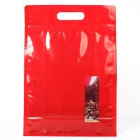 Red Color Stand Up Ziplock Bags Food Grade Material For Potato Cracker Manufactures