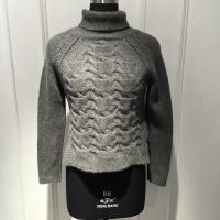 Anti Shrink Turtleneck Cable Knit Sweater / Grey Turtleneck Sweaters For Fall Manufactures
