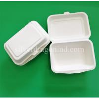 Disposable Biodegradable Sugarcane Pulp Paper Lunch Box, sugarcane clamshell 600ml Manufactures