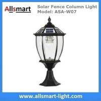 "9"" inch Aluminum Solar Fence Column Light Solar Pillar Lamp Traditional Outdoor Post Lights Fence Gate Lamp Black Manufactures"