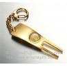 Pearl gold golf pitchfork repair key tags, functional golf divot repair tool keychains, Manufactures