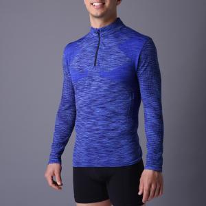 Active men's sport coat, XLSC002, melange blue, seamless stretch long sleeve,T-shirt. better silhouette Manufactures