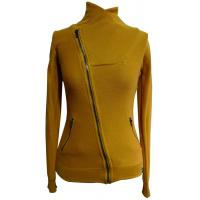 Yellow High Collar Cotton Womens Knit Sweaters Short Jacket For Autumn Manufactures