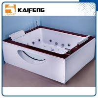 Quality Indoor Double Whirlpool Tub With Oak Edge Cover , Seamless Air Bubble Bathtub for sale