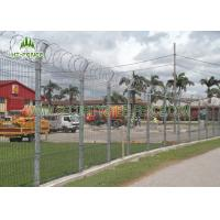 Square Post PVC Coated Welded Wire Fencing V Bend Rigid Fence For Airport Manufactures
