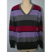 Classic Style Stripe Men Knit Sweater Pullover OEM / ODM Available Manufactures