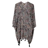 Abstract Printed Lyocell Viscose Cute Womens Clothes With Tassels