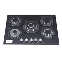 5 Burner Black Glass Top Gas Hob 70cm With Stainless Steel Water Dish Manufactures