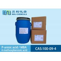 White crystalline powder 	P-anisic Acid 100-09-4 99.0% purity with stock Manufactures