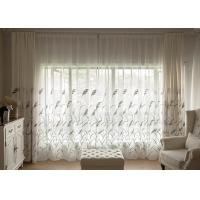 Country Style white window curtains , Embroidered modern bedroom curtains Manufactures