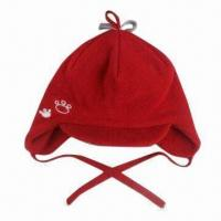 Baby Hat with Flaps and Embroidered Logo, Made of Microfiber Fleece Manufactures