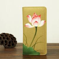 Retro Travel Khaki Leather Clutch Wallet Canvas With Hand Painted Flower Manufactures