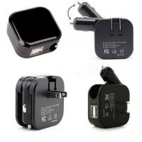 2 In 1 USB Wall Car Charger Combo , Folding Plug USB Car Travel Charger Manufactures