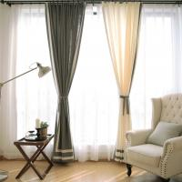 100% Linen Cotton Window Curtains , Country Style Grey And White Curtains Manufactures