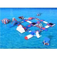 Red / White/Blue Color 80 People Large Inflatable Water Park / Aqua Park Equipment For Lake Resort Manufactures