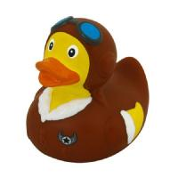 ISO certificated Weighted Brown Aviator Rubber Duck With Sunglasses Promotional Gift Manufactures