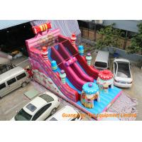 Pink Commercial Inflatable Slide Combo Fun Games With Logo Pringting Manufactures
