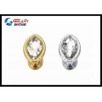 Buy cheap Oval Acrylic Stones Dresser Pulls Crystal Wardrobe Handles Gold Round Knobs from wholesalers