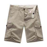 Fashion Casual Men's Cotton Linen Shorts Mens Light Beige Pants With Pockets Manufactures