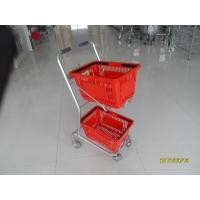 Supermarket Steel Wheeled Shopping Basket With 3 inch PVC / PU / TPR Wheel Manufactures